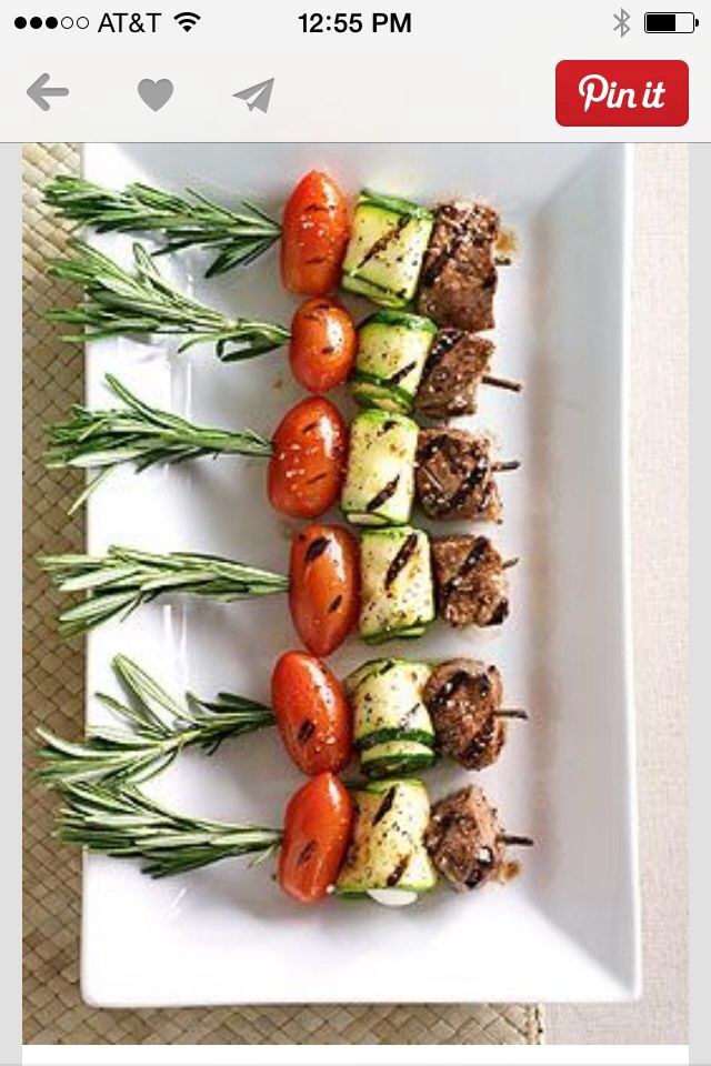 Kebabs! Great presentation with the rosemary!