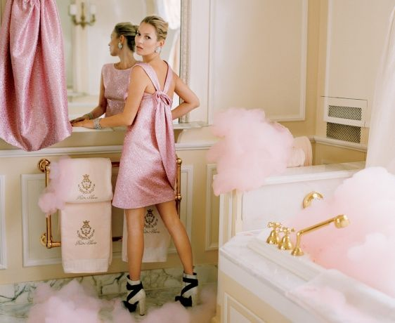 Kate Moss in Vogue April 2012, at the Ritz Paris. love the pink foam!  If she had different shoes I would love this pic.