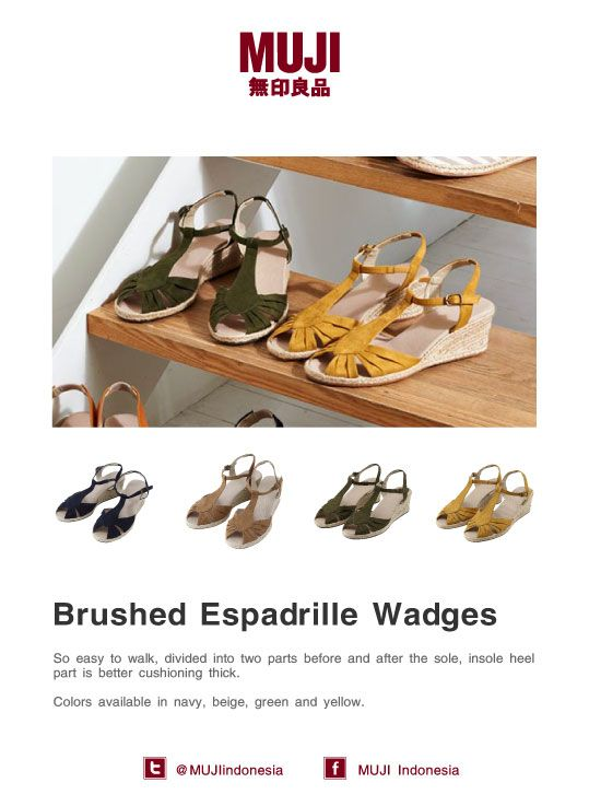 Brushed Espadrille Wadges - new collection on our shoes department... Available in navy, beige, green and yellow