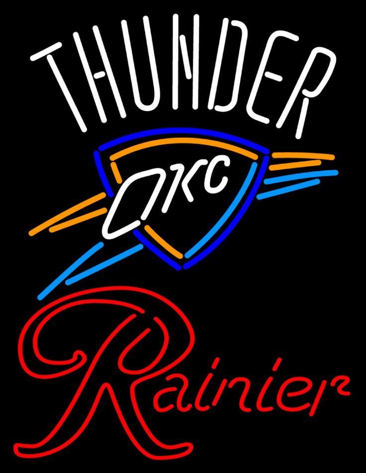 Rainier Oklahoma City Thunder NBA Neon Beer Sign, Rainier with NBA | Beer with Sports Signs. Makes a great gift. High impact, eye catching, real glass tube neon sign. In stock. Ships in 5 days or less. Brand New Indoor Neon Sign. Neon Tube thickness is 9MM. All Neon Signs have 1 year warranty and 0% breakage guarantee.