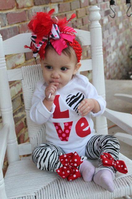 Valentine Outfit SET -- Little Diva Valentine -- zebra leg warmers and LOVE onesie
