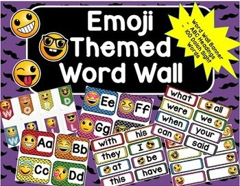 Emoji Word Wall- 100 Dolch Words, ABC Headers and BannerYour students will love using this Emoji themed word wall! Included in this product…
