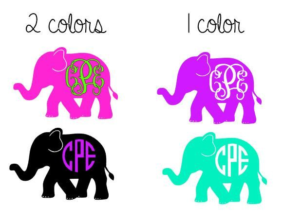 Elephant Monogram Decal - 1 Color - 2 Color - Monogram Decal for Yeti, Car , Laptop, and More! by CustomCreationsByCP on Etsy