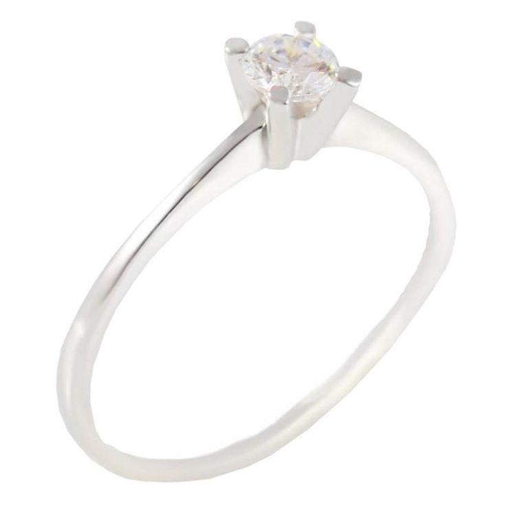 ΕΜ27Ζ- Λευκόχρυσο μονόπετρο δαχτυλίδι με ζιργκόν