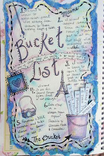 Bucket List journal page with slot in bucket for strips of paper.  Too cute!
