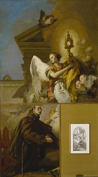 Giambattista Tiepolo, La visione di San Pasquael Bailón, 1767-69, Olio su tela, Museo del Prado Madrid