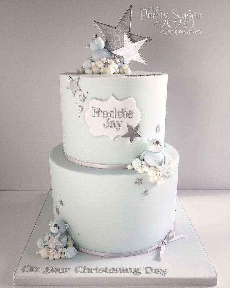 Teddy bears and stars Christening cake