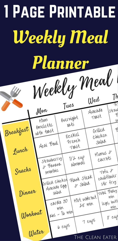 1 Page Printable Weekly Meal Planner