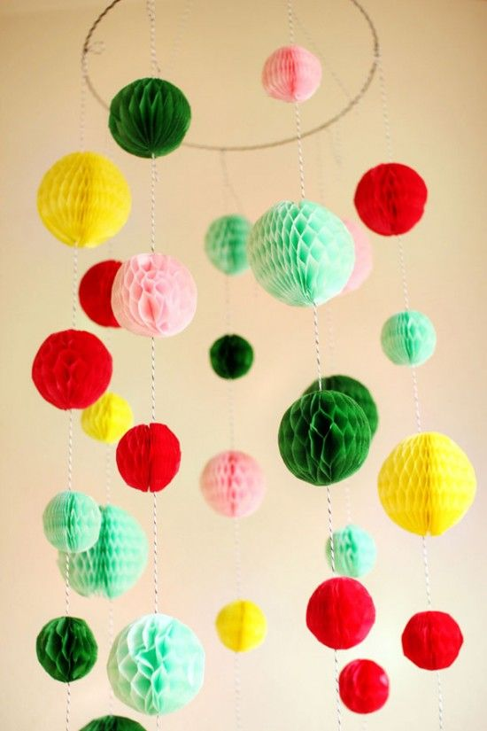 honeycomb chandelier diy by hank+hunt on one charming party: Paper Ball, Craft, Chandeliers, Parties, Fun Party, Diy, Ball Chandelier, Party Ideas, New Years