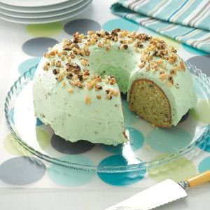 Pistachio Cake. Made it last year, and loved it!! The whipped icing taste awesome too. -Brett