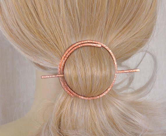 Circle Hair Slide  Copper Hair Clip  Metal Copper by JewelrybyNata