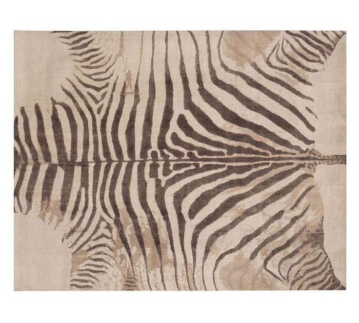 Zebra Printed Rug - Neutral