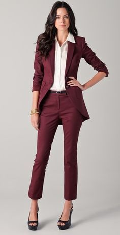 womens burgundy pants suit - seasons new color