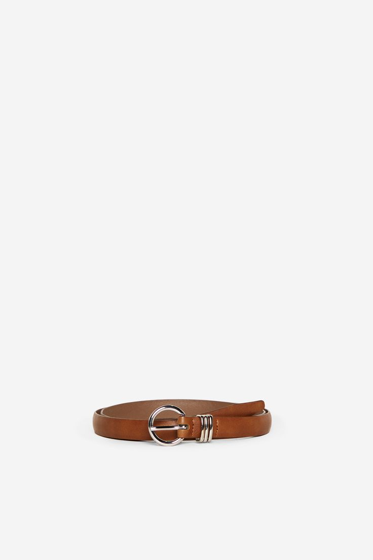 Brown belt with metallic loop and buckle. | Belts | Springfield Man & Woman