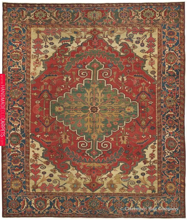 Serapi Northwest Persian 9ft 6in X 10ft 10in Circa 1875 This Premier Example Of The Ever Popular Antique Serapi Rugs Hung On The Wall In Carpet Rugs Antique Persian Carpet Textured Carpet