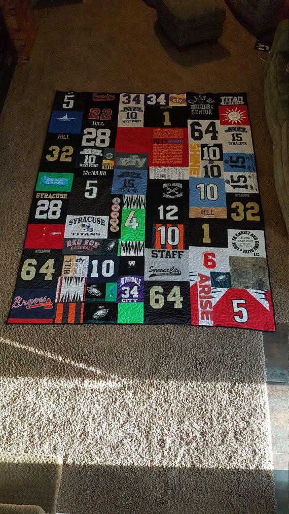 Best 25+ Jersey quilt ideas on Pinterest   Shirt quilt, Top kids ... : quilts made from sports jerseys - Adamdwight.com