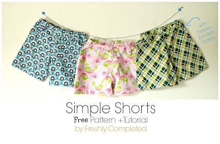 Free pattern: Simple toddler shorts, with or without pockets