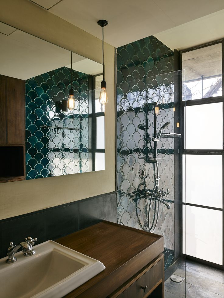 the Riparian House - Master Bathroom with Fish Scale Glazed Tiles