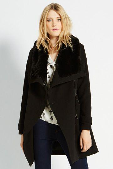 Faux Fur Collar Formal Drape Coat - OASIS