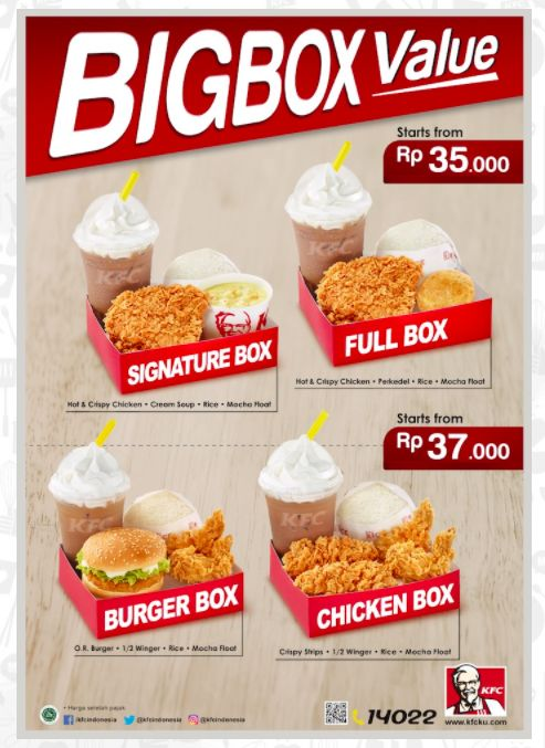 KFC, Big Box Value KFC, Harga Menu Big Box Value KFC,