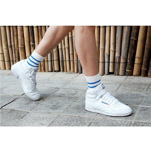 GREEN BLISS Organic Cotton Socks - [Stripe Series] Armeria Blue and White Striped Stockings (Male / Female)