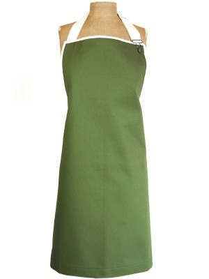 A traditional cut full-body adult apron made from olive green cotton.