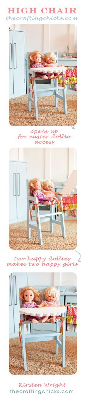 And don't forget the adorable high chair for dollies to match! A scallop tray!! So cute!