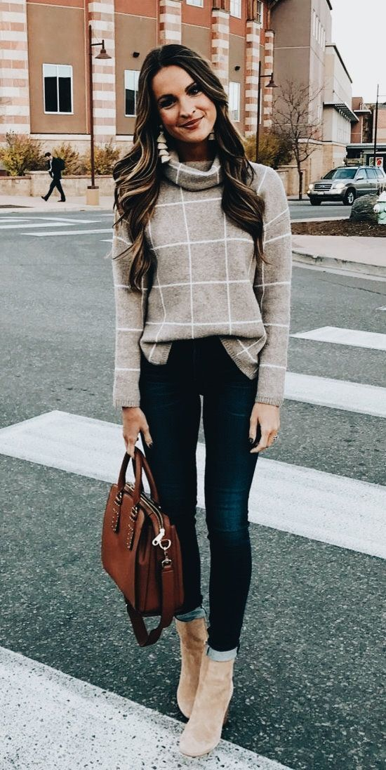 windowpane sweater + rolled jeans + camel booties