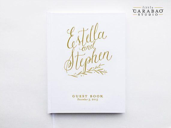 Guest Book Wedding GuestBook Custom Guest Book 8x10 5x7 Wedding Journal - Little Carabao Studio - #PC104