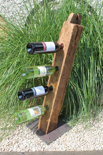 """Deko-Objekte - 4er Weinständer alter Eichenbalken """"Riesling"""" - ein Designerstück von by-Andalura bei DaWanda"""