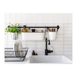 FINTORP Flatware caddy, white, black - IKEA -- 2 white Fintorp pails for kitchen -- in Kitchen section in store
