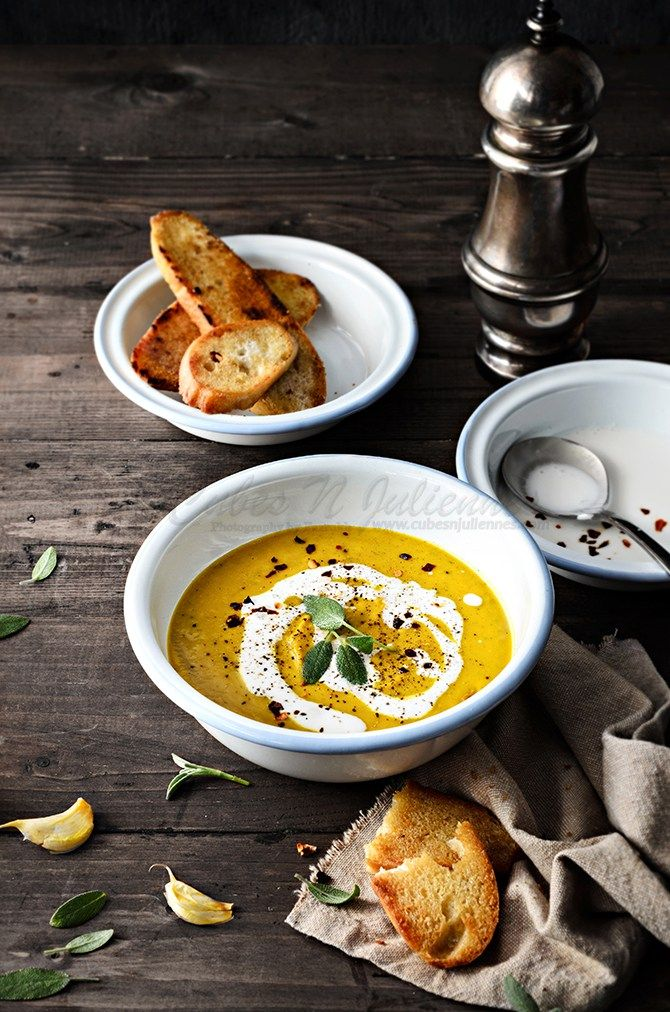 Pumpkin Soup with Sage and Coconut   Cubes N Juliennes