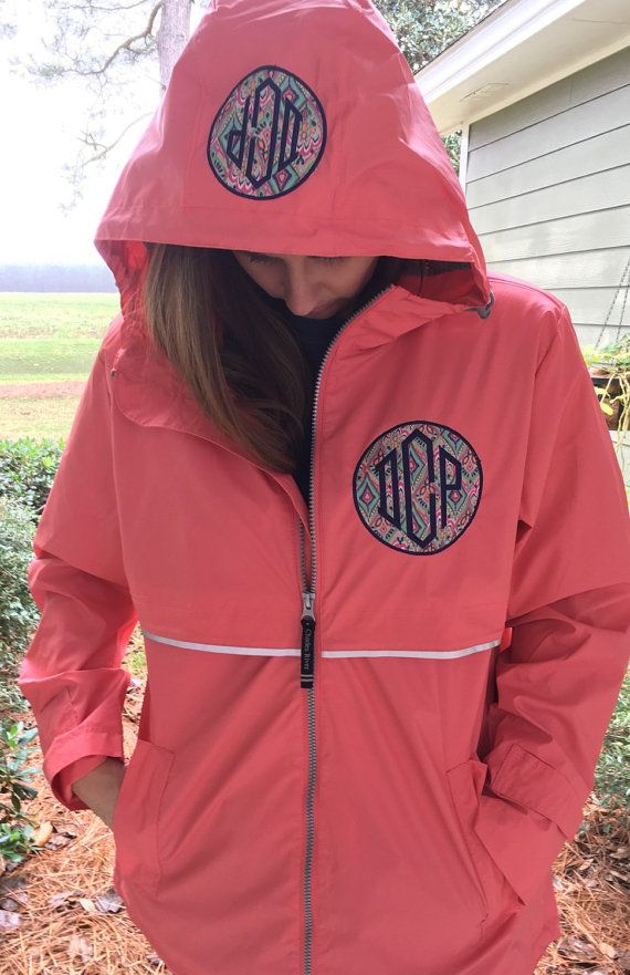 Monogrammed Rain Coat Jacket Womens by thepurplepetunia on Etsy