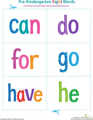 Preschool Sight Words Reading Flash Cards Worksheets: Pre-Kindergarten Sight Words: Can to He Worksheet