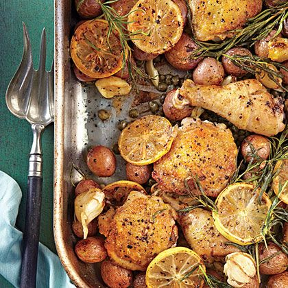 "Lemon-Rosemary-Garlic Chicken and Potatoes Recipe | MyRecipes.com..""Nicknamed ""Anytime Chicken"" by Test Kitchen Specialist Vanessa McNeil Rocchio, this winner of a chicken dinner is our new favorite roasting-pan supper for weeknights or easy entertaining with friends."""