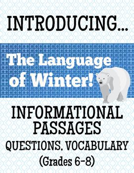 The Language of WinterThis ELA resource includes two reading passages about the origins of the English language and with an emphasis on words associated with winter. Each text has a work page including vocabulary and comprehension question activities.