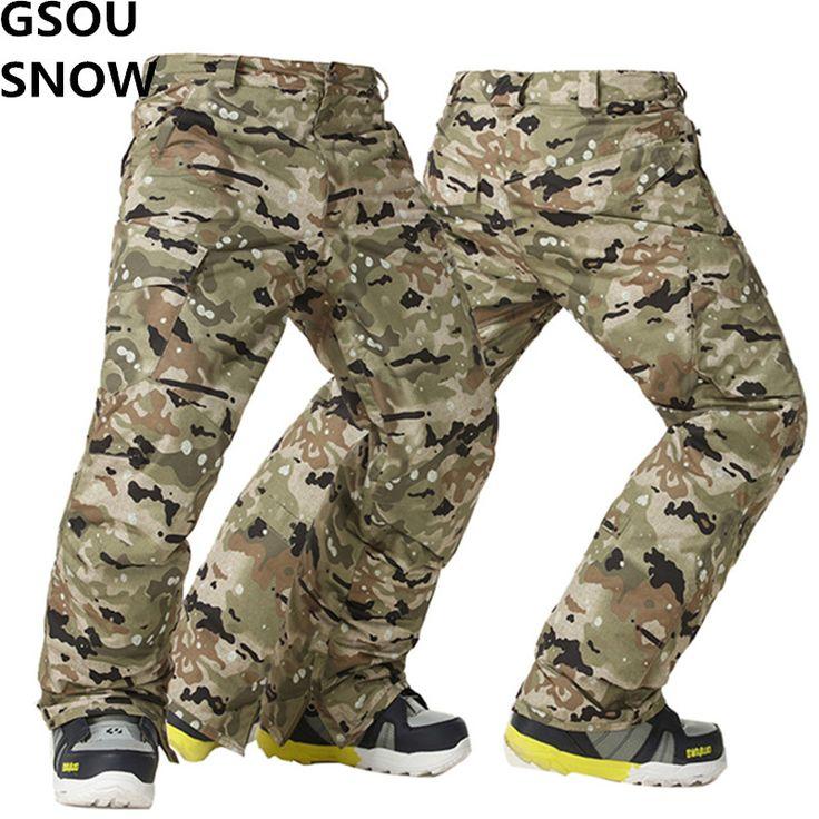 Gsou Snow Snowboard Pants Men Ski Pants Winter Thermal Waterproof Camouflage Skis Trousers Snowboarding Pants Male Outdoor Wear