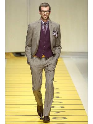 Purple vest, three piece grey suit. | Suit looks for Shaun ...