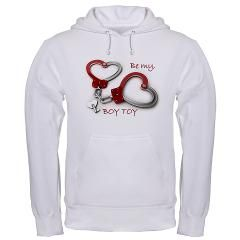 Boy Toy Valentine Heartcuffs Hoodie > •Heavyweight 90/10 cotton/polyester blend by Hanes •Drawstring hood and kangaroo pocket • Stretch ribbed cuffs and waistband  •Standard fit •Machine Washable  > Boy Toy Casual Wear and Gifts
