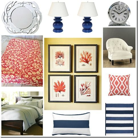 coral blue bedroom - Google Search