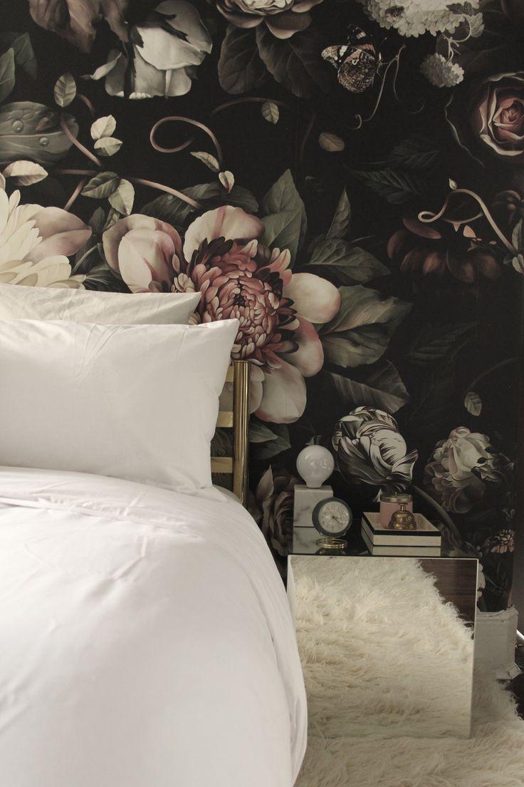 Black floral print wallpaper dark floral wallpaper by ellie cashman - Preciously Me Blog One Room Challenge Bedroom Makeover Reveal Ellie Cashman Dark Floral