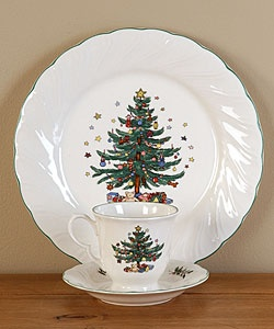 @Overstock.com - Christmastime ironstone dinnerware features a Victorian period Christmas tree  pattern  Dishes depict a tree gaily decorated with ornaments and gifts, including Nikko's signature Christmas teddy bearhttp://www.overstock.com/Home-Garden/Nikko-Happy-Holidays-12-piece-Dish-Set/2589756/product.html?CID=214117 $69.99