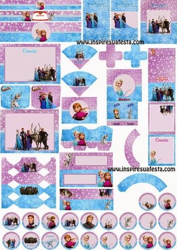 Free Printable Frozen in Lilac and Light Blue Kit.