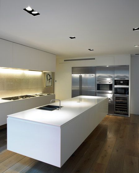 Floating island kitchen bench, with recessed downlights