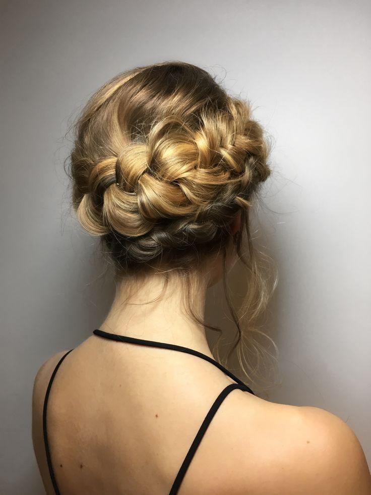 Braid crown updo blonde