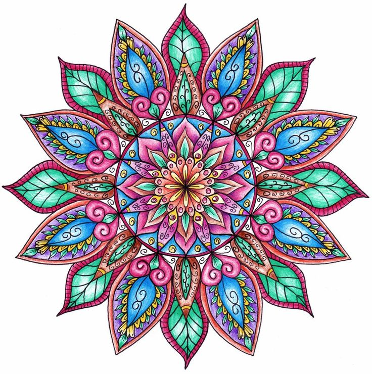 Finished Colouring - Floral Mandala by WelshPixie