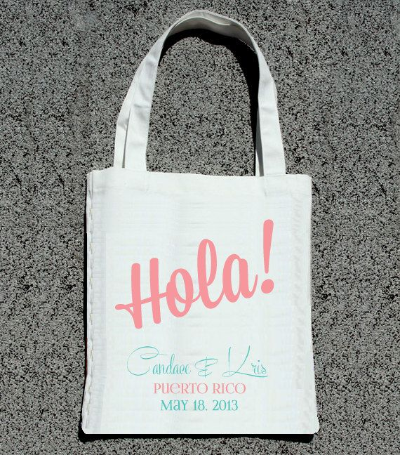 Destination Wedding HOLA Personalized Bags- Wedding Welcome Tote Bag via ilu.lily designs on Etsy
