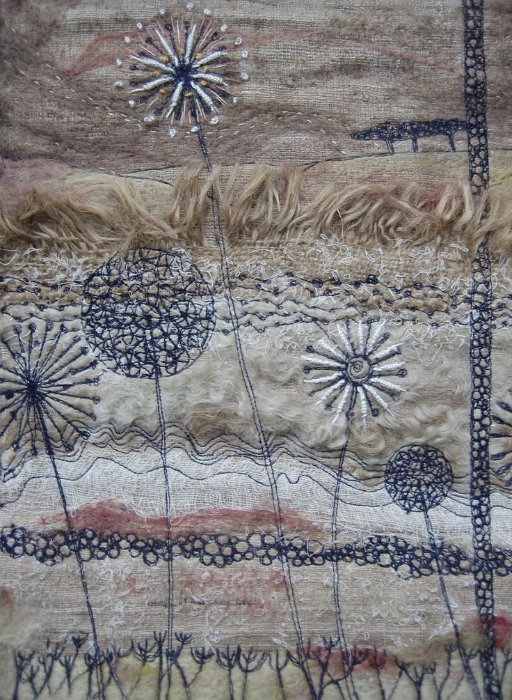 Silks and cotton scrim, needlefelted with machine and hand embroidery. (Sold)