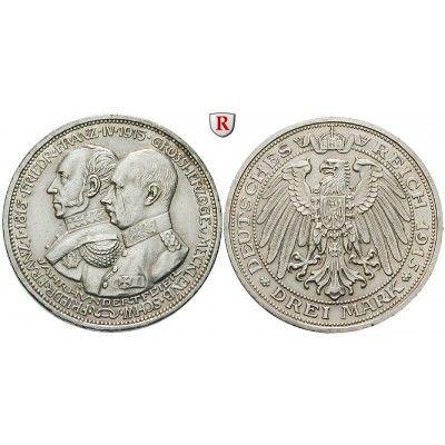 Deutsches Kaiserreich, Mecklenburg-Schwerin, Friedrich Franz IV., 3 Mark 1915, Jahrhundertfeier, A, vz/vz-st, J. 88: Friedrich Franz… #coins