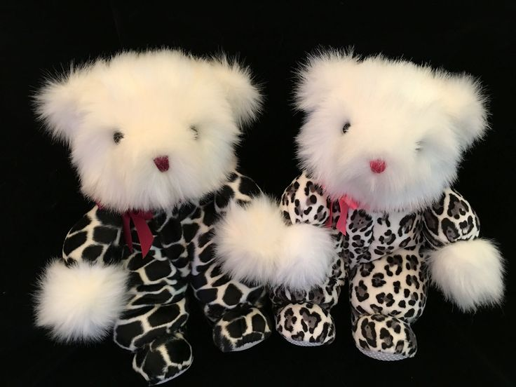 New for Spring 2016.  The Portlandia Teddy Bear Co. Introduces two new Bears to the Safari Collection.   Safari Black and Ivory Giraffe Velboa Jammies with Ivory Mink Faux Fur. Brown eyes, Wine Nose and Ribbon  Safari Jaguar Minky in Gray with White Faux Fur, Silver Gray eyes, Coral Rose Nose and Ribbon.   Please contact  customerservice@portlandiateddybears.com For Ordering or Inquiries